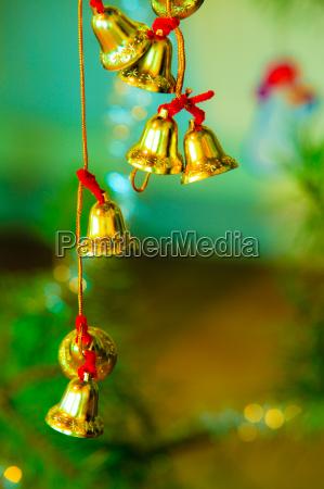 closeup of little bells christmas tree