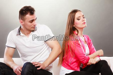 unhappy couple not talking disagreement