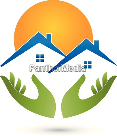 hands and houses logo real estate