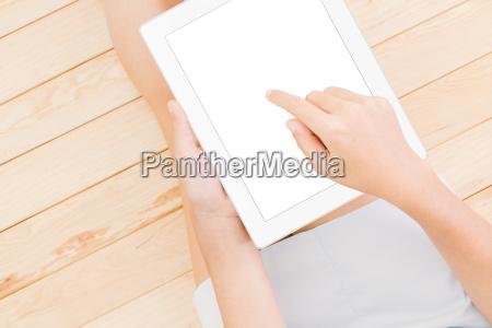 women using tablet white screen