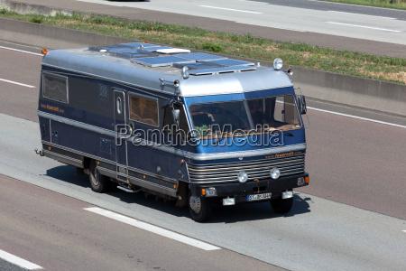 old camper van on the highway