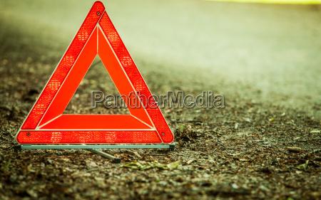 breakdown of car red warning triangle
