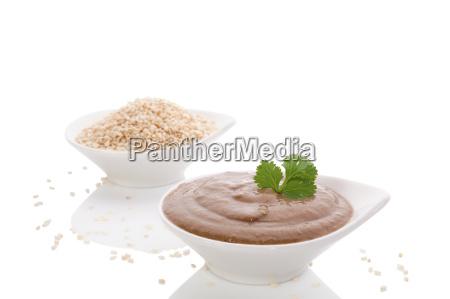 tahini pasta and sesame seeds