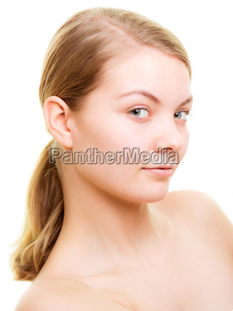 portrait blonde girl without makeup isolated