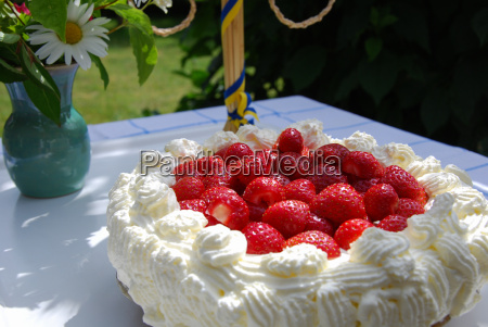 strawberry cake at a table