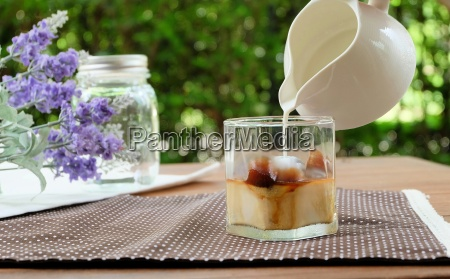 relax with ice caffe latte in