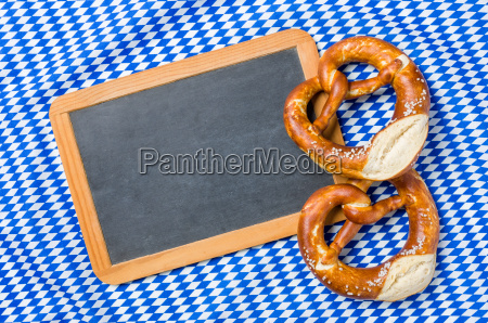 empty table with pretzels on bavarian