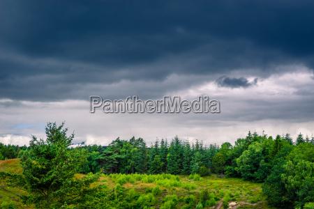 landscape with dark clouds in denmark