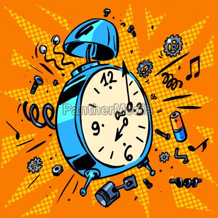 morning alarm clock rings time to
