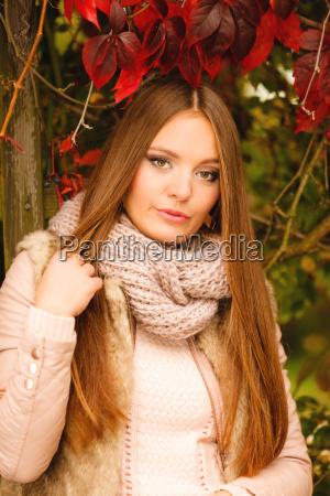 portrait girl relaxing walking in autumnal