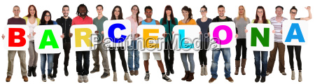group young people multicultural lyocut word