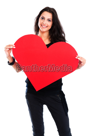 young woman with red heart young