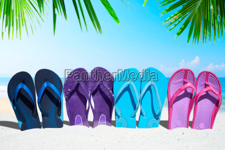 a set of colorful flip flops