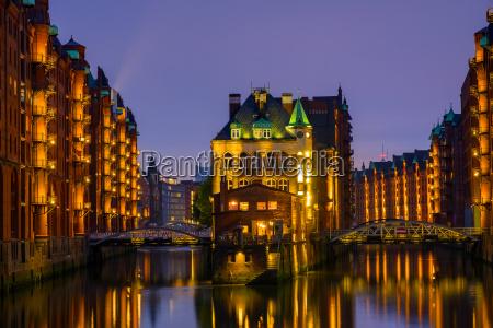 the historic speicherstadt in hamburg by