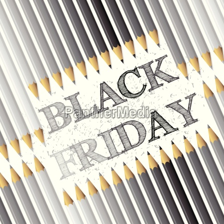 black friday advertising background with pencils