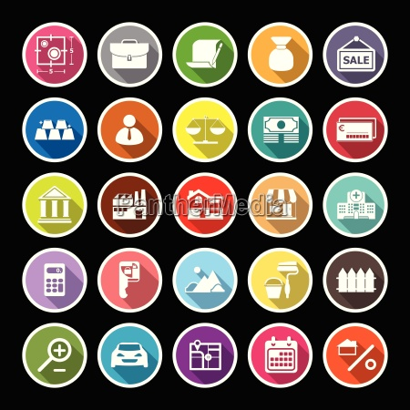 mortgage and home loan flat icons