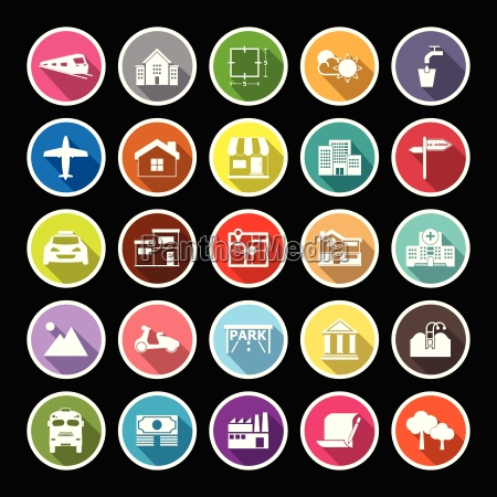 real estate flat icons with long