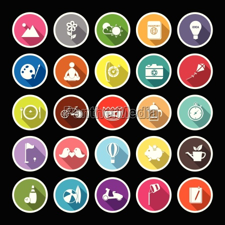 slow life activity flat icons with