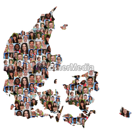 denmark map people young people group