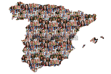 spain map people young people group