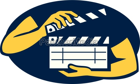 hand holding movie clapboard oval retro