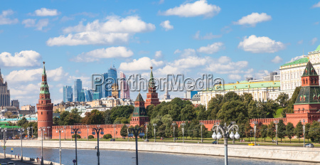 panorama of moscow city center with