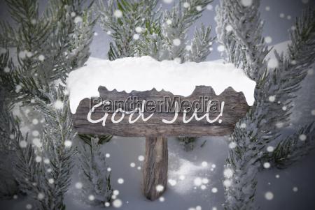 sign snowflakes fir tree god jul