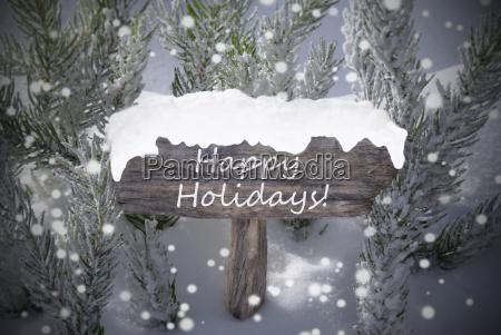 christmas sign snowflakes fir tree text