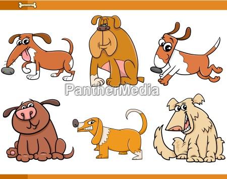 dogs characters cartoon set