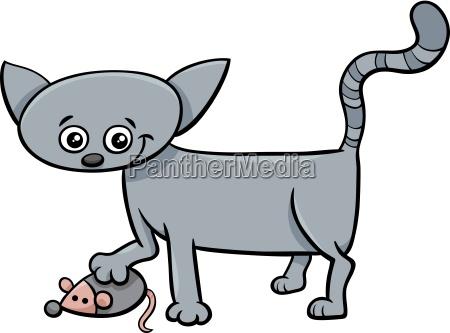 kitten with toy cartoon
