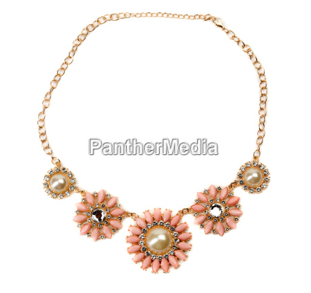 necklace with pink stones on a