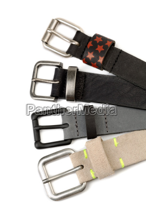 four leather strap with buckles isolate