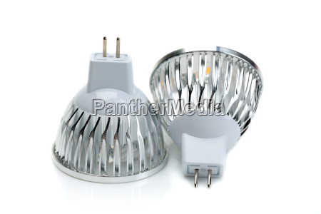 two led bulbs mr16 isolate on