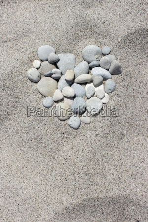 heart of pebbles in the sand