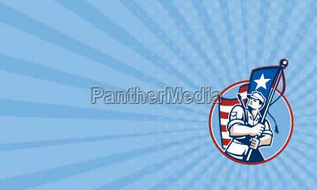 business card american patriot serviceman soldier