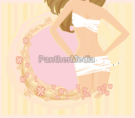 women skinny figure abstract card