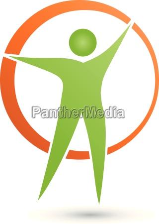 man and circle logo person vector
