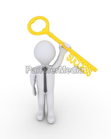 happy businessman with success key