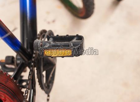 struggle of bicycle broken on blur