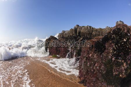 waves rocks beach