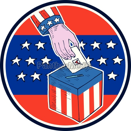 hand ballot box circle etching