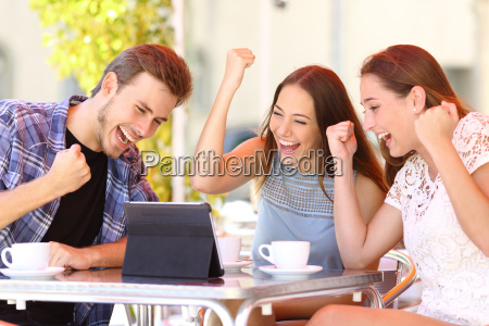 euphoric winner friends using a with