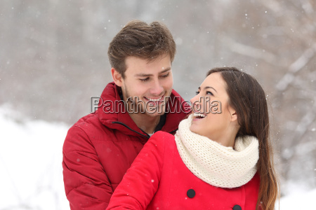 couple falling in love in winter