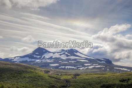 mountains in iceland with halo
