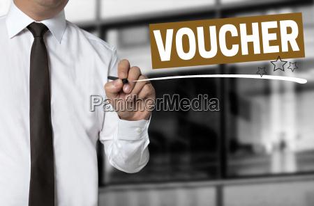 voucher is written by businessman background