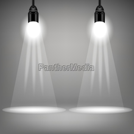 two spotlights on soft grey background