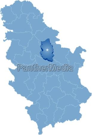 map of serbia subdivision podunavlje district