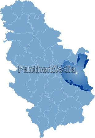map of serbia subdivision zajecar district