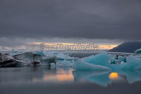 the glacier lagoon jokulsarlon in iceland