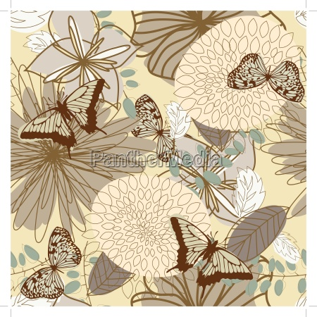 seamless, vector, floral, pattern - 14769343